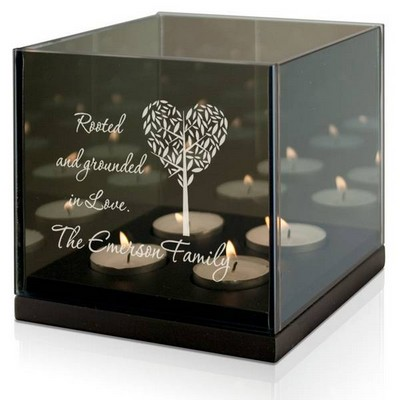 Family Roots Personalized Quad Tea light Candle Holder