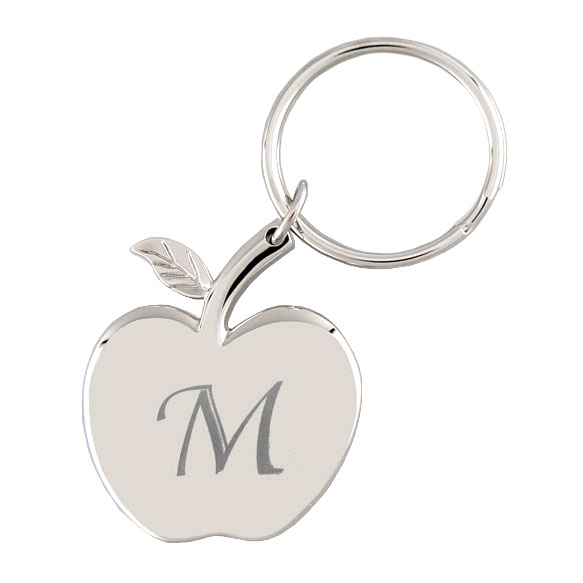 silver apple shaped engraved key chain