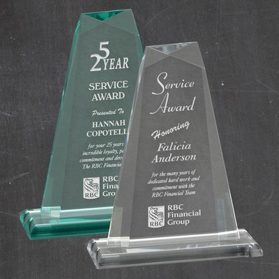 Personalized Pinnacle Clear or Jade Acrylic Award