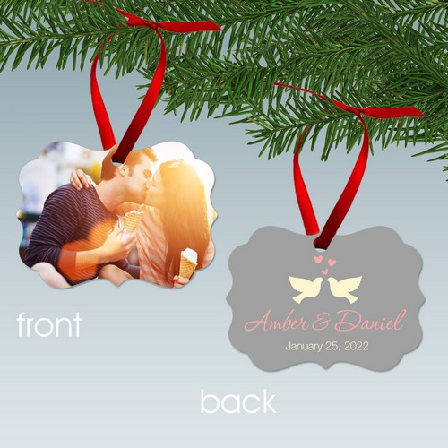 Kissing Doves Personalized Couples Photo Ornament