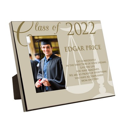 Law School Graduation Personalized 4x6 Picture Frame with Scales of Justice
