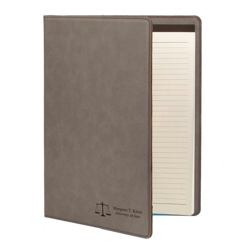 Lawyers Gray Leatherette Personalized Portfolio with Notepad