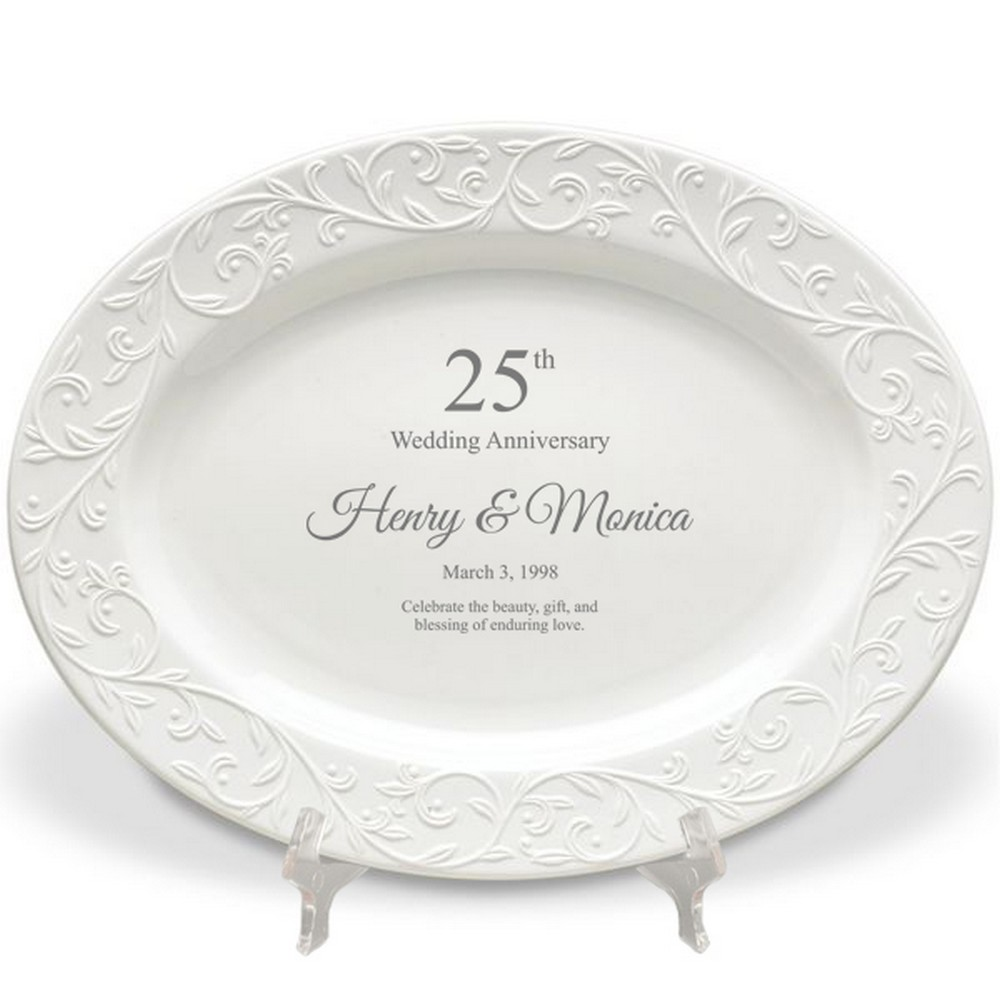 25th Wedding Anniversary Gift Ideas For Him: Lenox 25th Wedding Anniversary Personalized Oval Platter