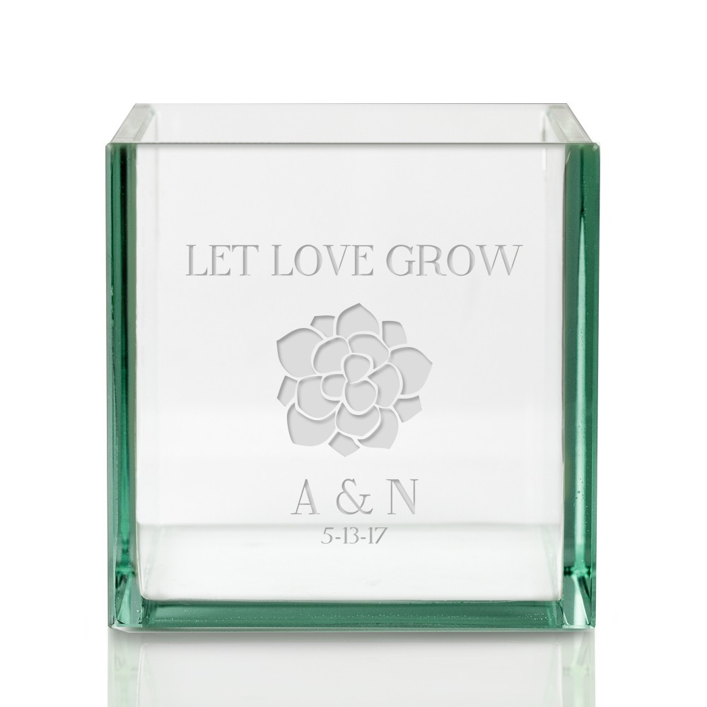 new let love grow square glass vase - 25th Wedding Anniversary Gifts
