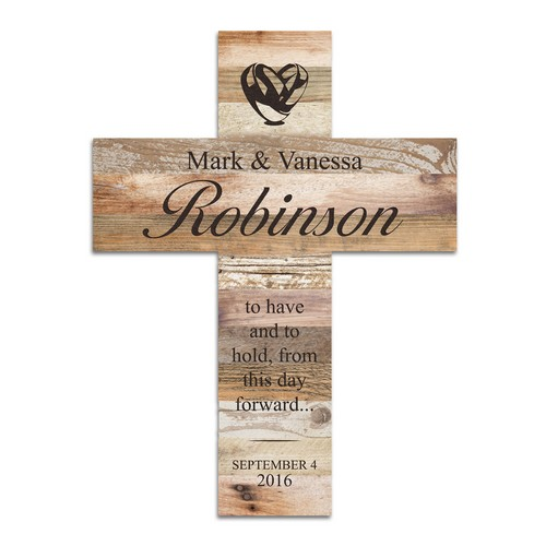 Light Faux Wood Personalized Couples Wall Cross