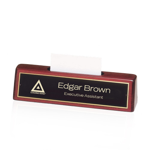 Logo Engraved Rosewood Piano Finish Desk Nameplate with Card Holder