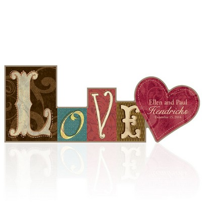 Love Word Personalized Wooden Block Sign