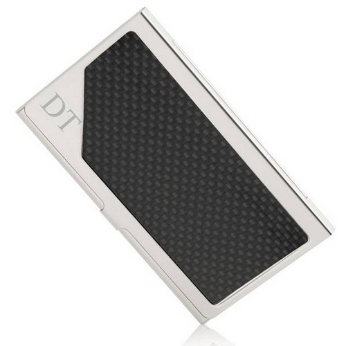 Polished Chrome and Carbon Fiber Finish Business Card Case