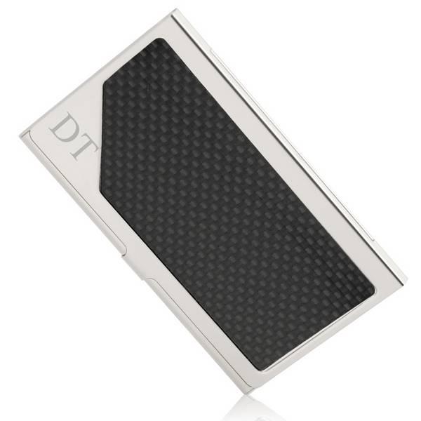 Polished chrome and carbon fiber finish business card case colourmoves