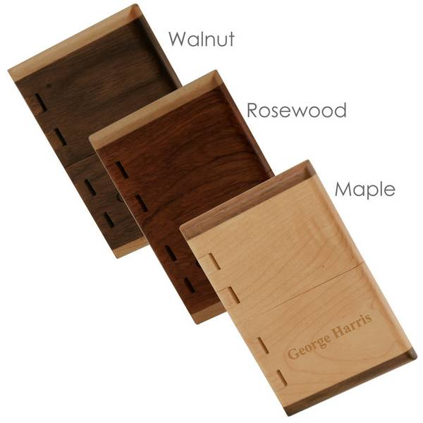 personalized handcrafted maple cherry or rosewood business card case - Business Card Cases