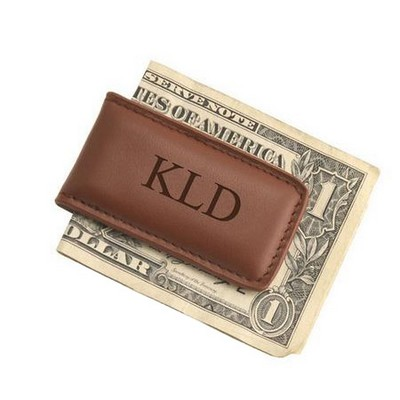 Exquisite Brown Leather Money Clip