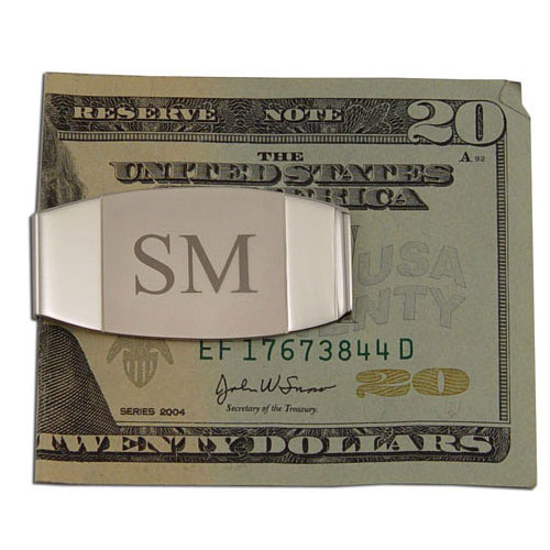 Two-Tone Oblong Silver Money Clip