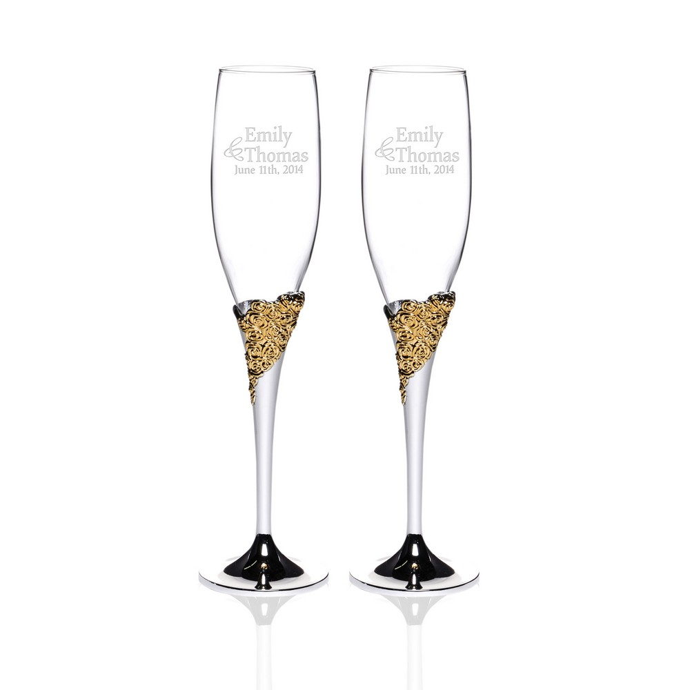 Personalized Marchesa Rose Lenox Crystal 2 Piece Gold