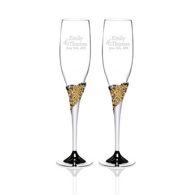 Personalized Marchesa Rose Crystal 2-piece Gold Plated Champagne Toasting Flute