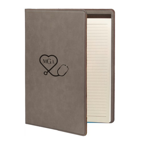 Medical Gray Leatherette Personalized Portfolio with Notepad