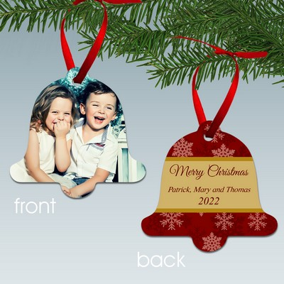 Merry Christmas Bell Shaped Aluminum Personalized Photo Ornament