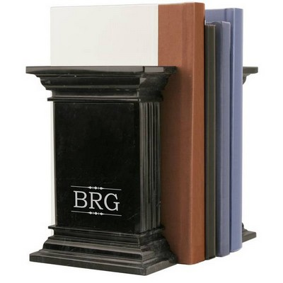 Monogrammed Black Marble Column Bookends