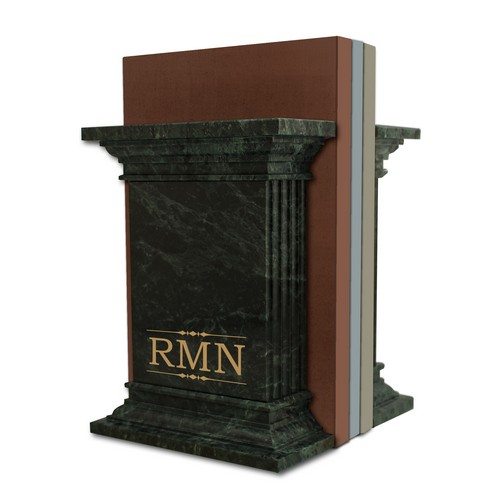 Monogrammed Green Marble Column Bookends