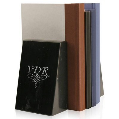 Monogram Personalized Black Marble Bookends