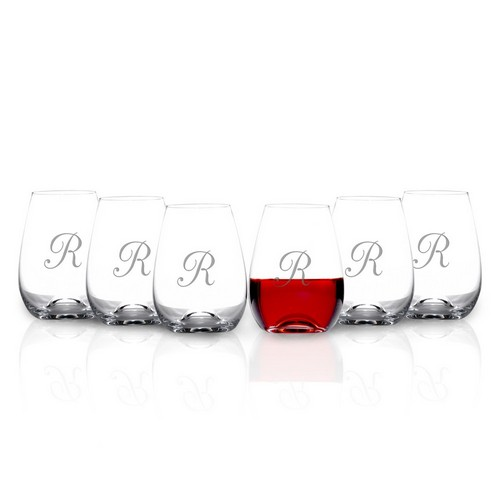 Monogrammed 6 piece stemless tuscany wine glass set by lenox - Lenox stemless red wine glasses ...