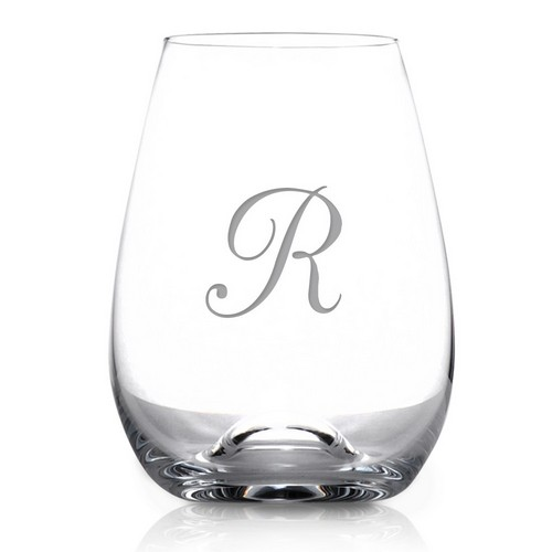 Monogrammed 6-Piece Stemless Tuscany Wine Glass Set by Lenox