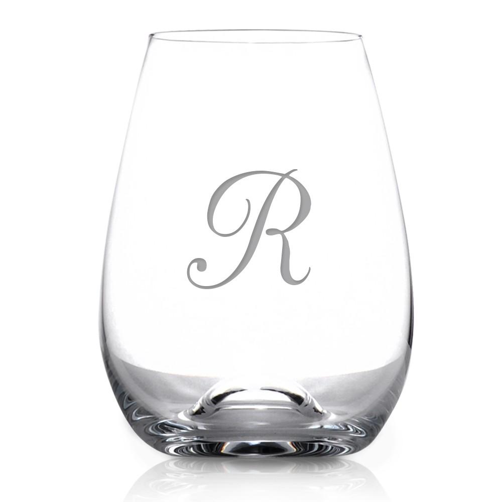 Monogrammed 6 Piece Stemless Tuscany Wine Glass Set By Lenox