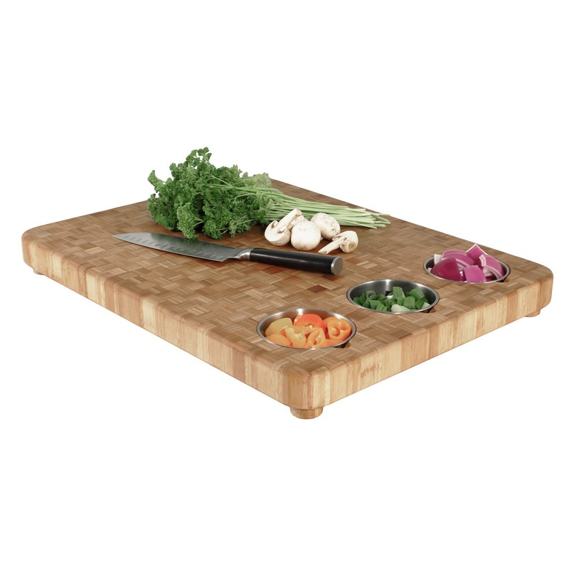 monogrammed butcher block cutting board with 3 bowls