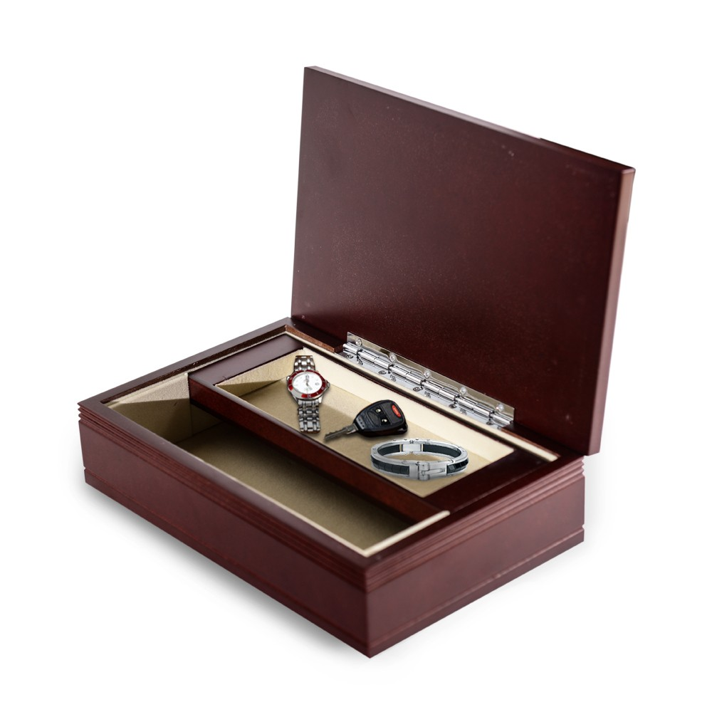Monogrammed mens small rosewood jewelry valet box for Men s valet box