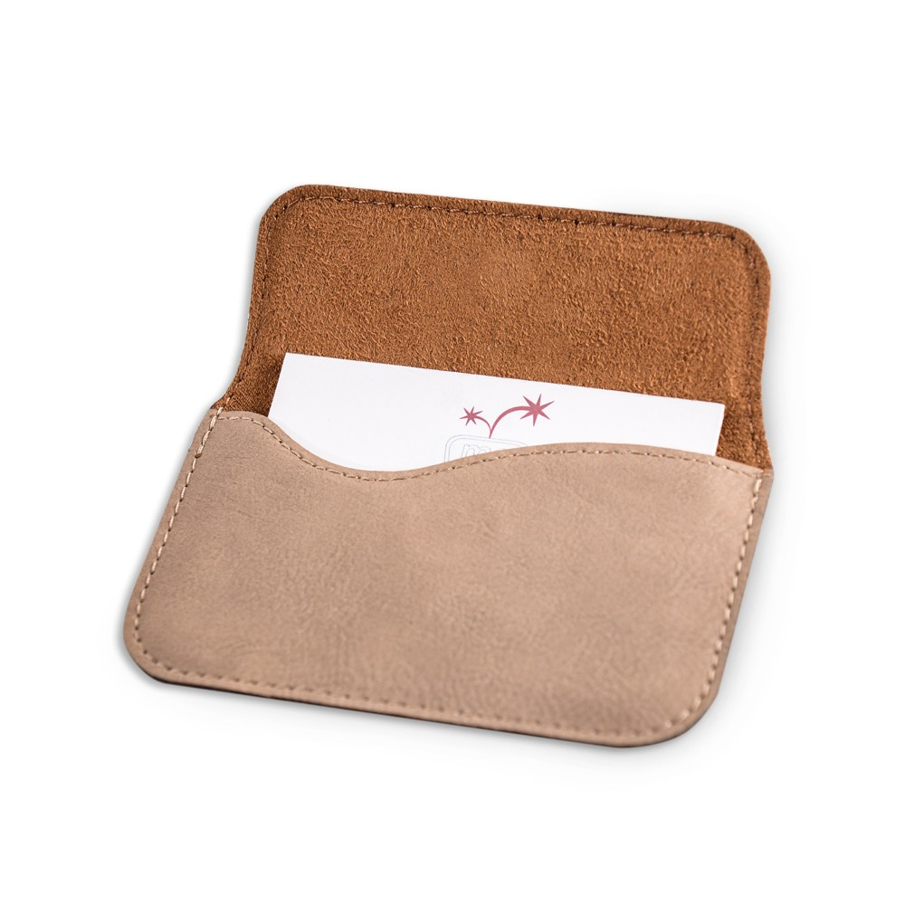 Monogrammed Tan Leatherette Business Card Case