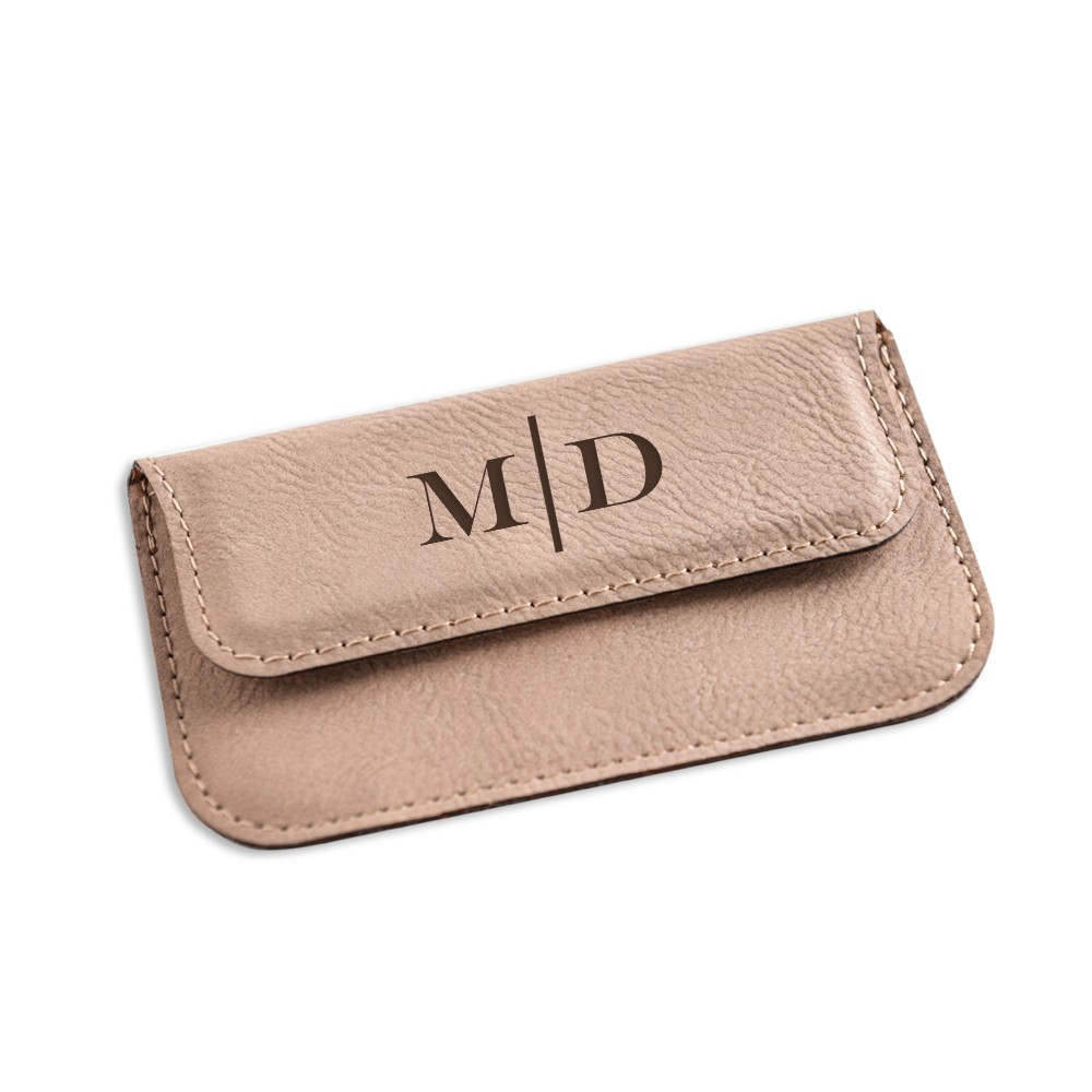 Monogrammed tan leatherette business card case colourmoves