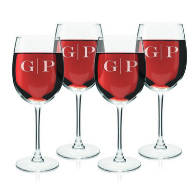 Monogrammed Set of Four Wine Glasses