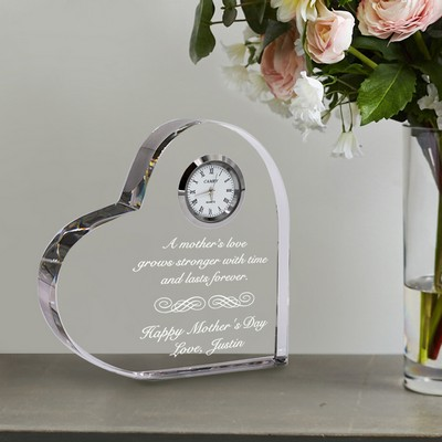 Mothers Love Quality Crystal Heart Clock