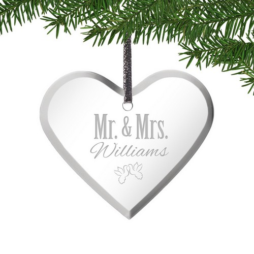 Mr and Mrs Acrylic Heart Ornament