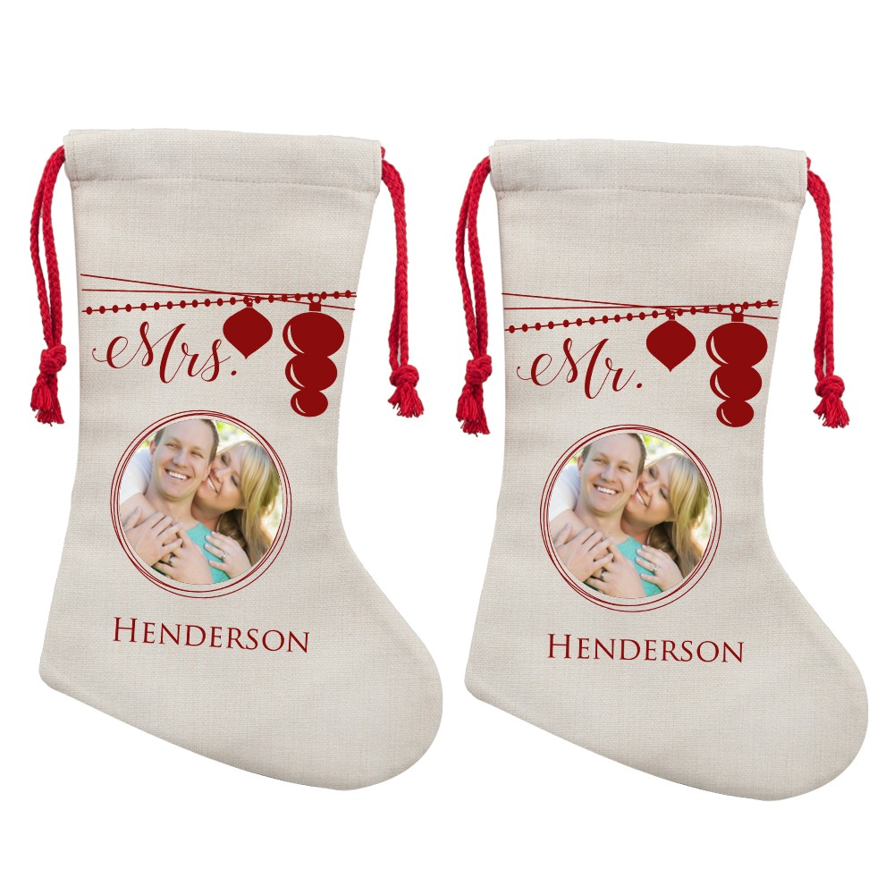 mr and mrs personalized photo christmas stocking for couples