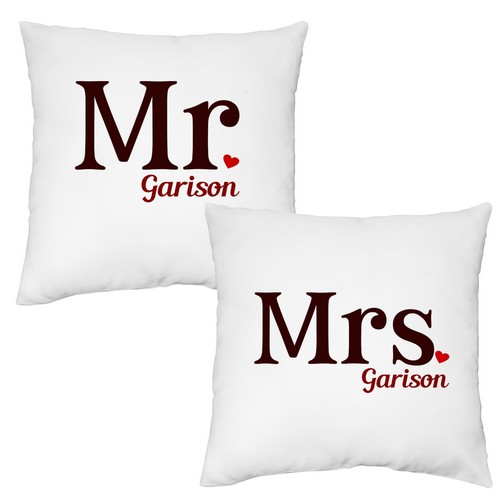 Mr and Mrs Personalized Pillow Case Set