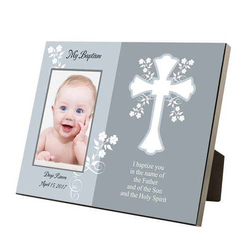 My Baptism Personalized Blue and Gray 4x6 Frame