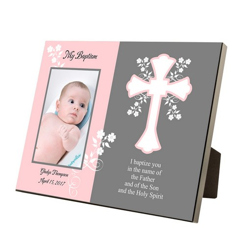 My Baptism Personalized Pink and Gray 4x6 Frame