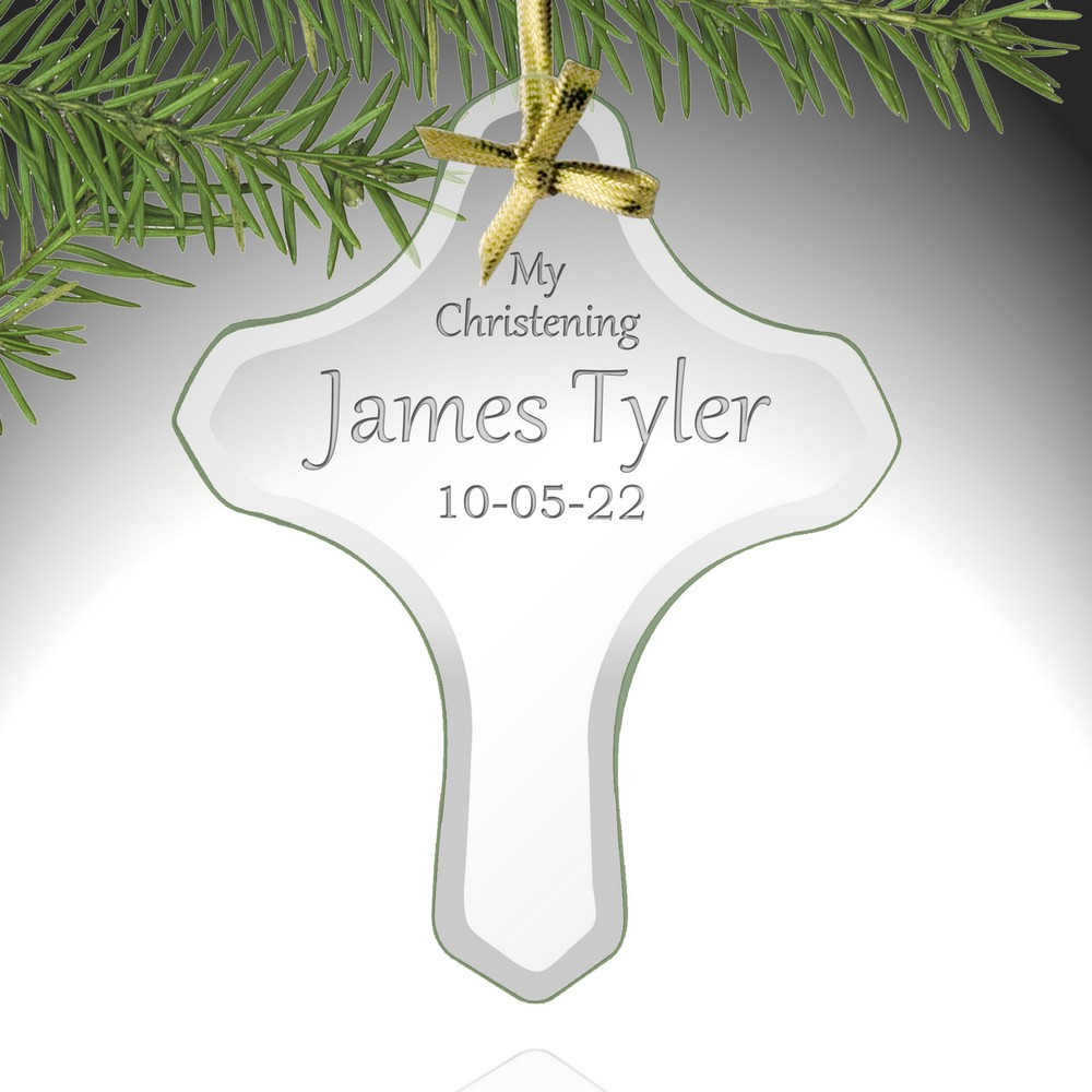 Baptism Ornament Christmas Ornament Personalized Baby: My Christening Personalized Cross Ornament