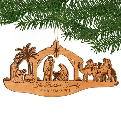 Nativity Scene Personalized Alder Wood Christmas Family Ornament