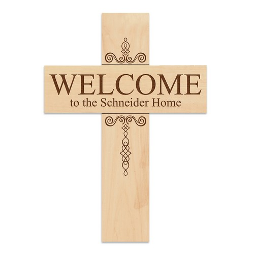 Natural Pine Personalized Welcome Wall Cross