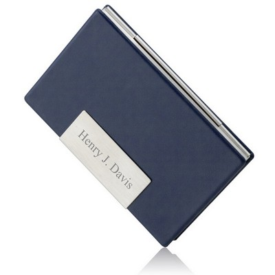 Navy Blue Leather Personalized Business Card Holder