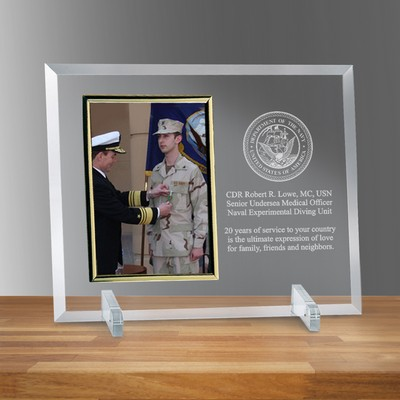 "Navy Glass Vertical 5"" X 7"" Personalized Photo frame"