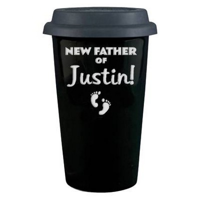New Father Personalized Porcelain Coffee Cup with Lid