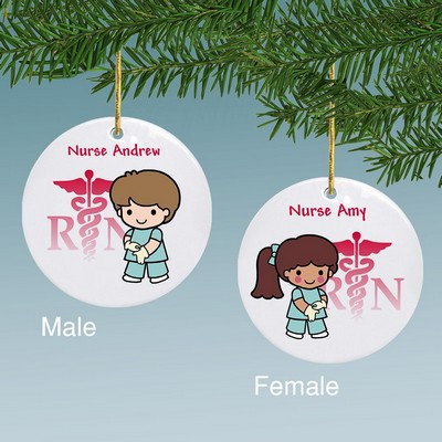 Nurse Custom Character in Scrubs Personalized Ceramic Ornament