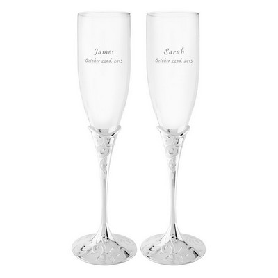 Opal Innocence Personalized Crystal Champagne Flute Set by Lenox