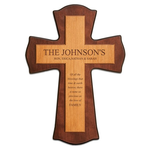 Ornate Cherry Wood Family Wall Cross