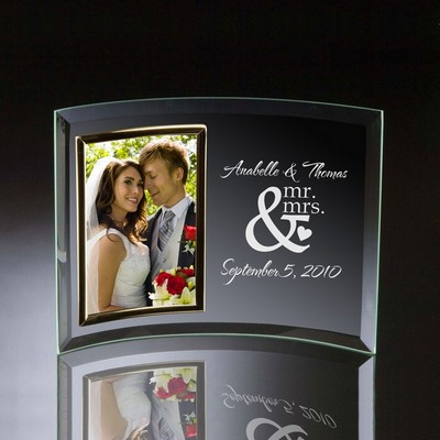 Mr and Mrs Curved Glass Vertical 4x6 Photo frame