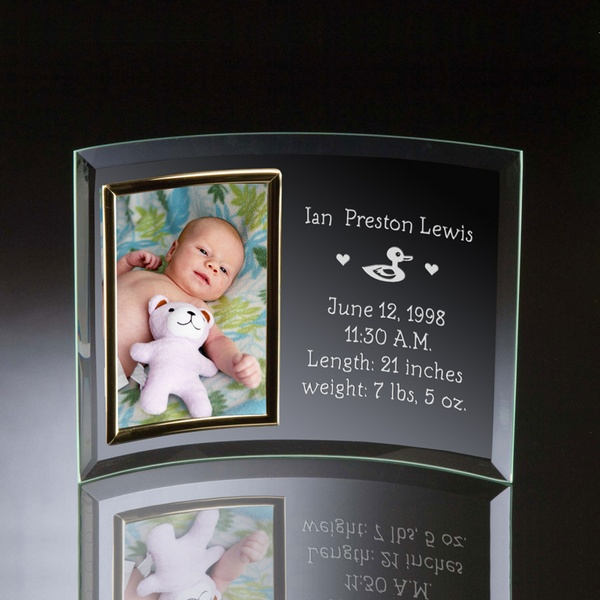 Birth Announcement Curved Glass Vertical 4x6 Photo frame