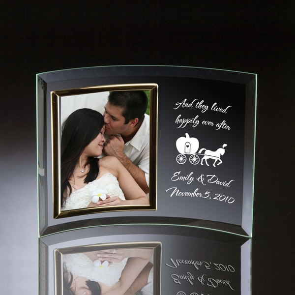 happily ever after curved glass vertical 5x7 photo frame - Engagement Photo Frames
