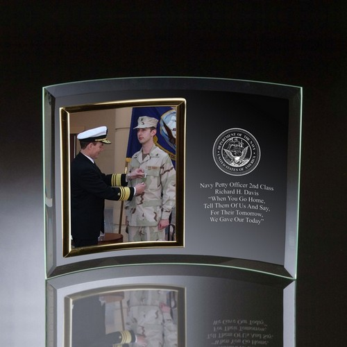Navy Glass Vertical 5x7 Photo frame